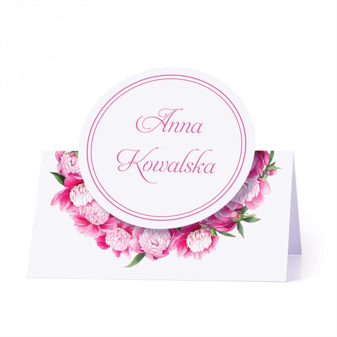 Winietka weselna motyw kwiatowy piwonie personalizacja