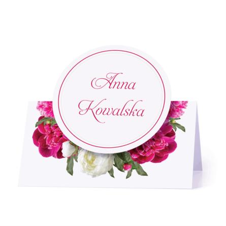 Winietka weselna motyw kwiatowy biało różowe personalizacja