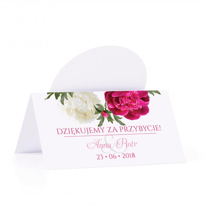 Winietka weselna motyw kwiatowy biało różowe piwonie personalizacja