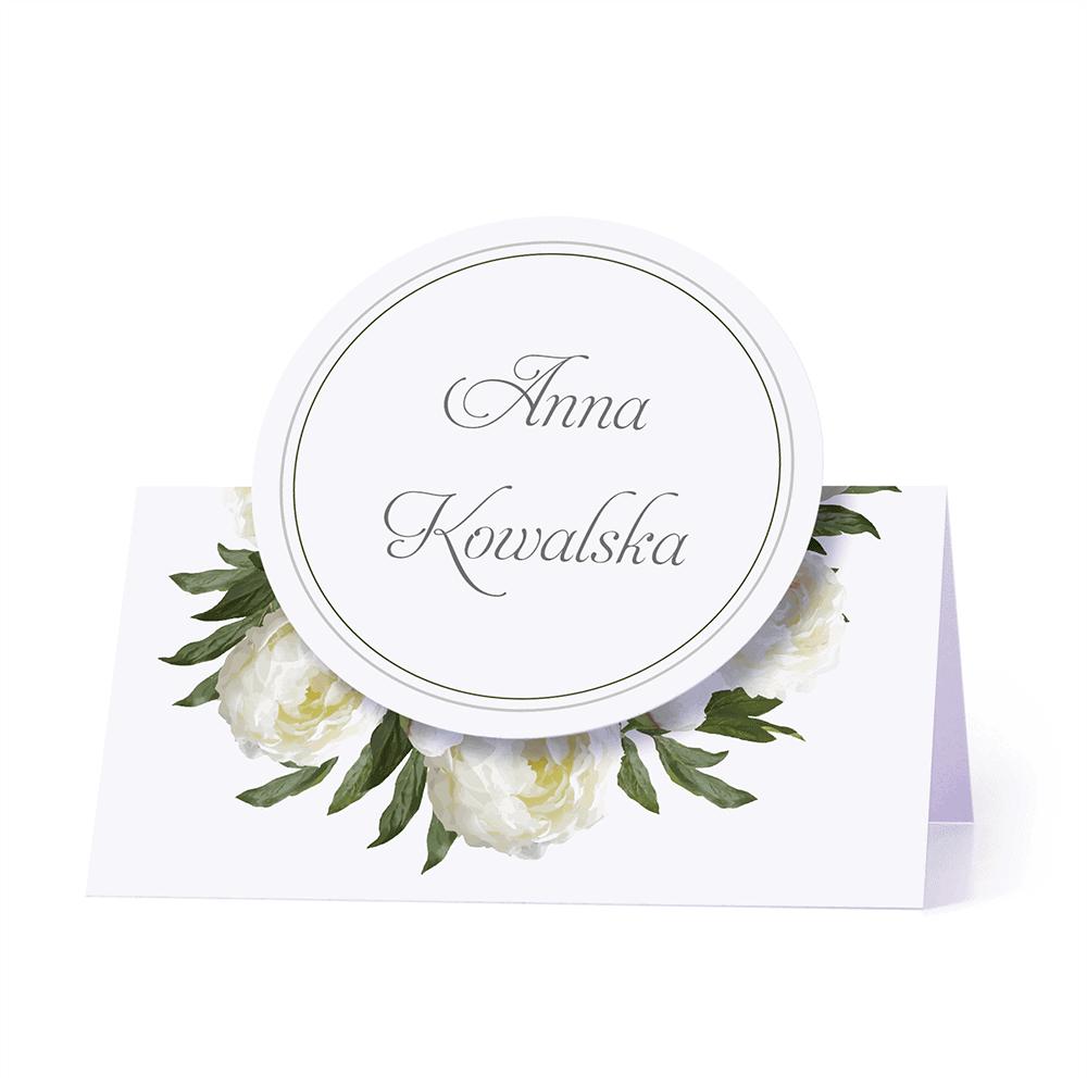Winietka weselna motyw kwiatowy białe piwonie personalizacja