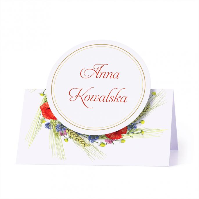 Winietka weselna wizytówka na stół motyw kwiatów