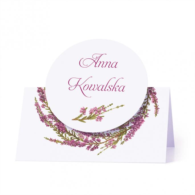 Winietka weselna motyw kwiatowy wrzos personalizacja