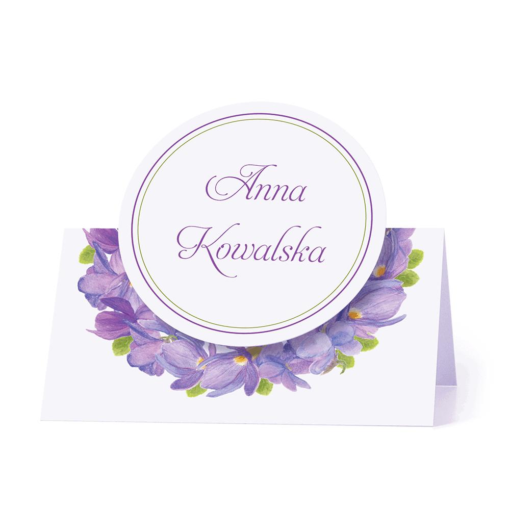 Winietka weselna motyw kwiatowy fiołki personalizacja
