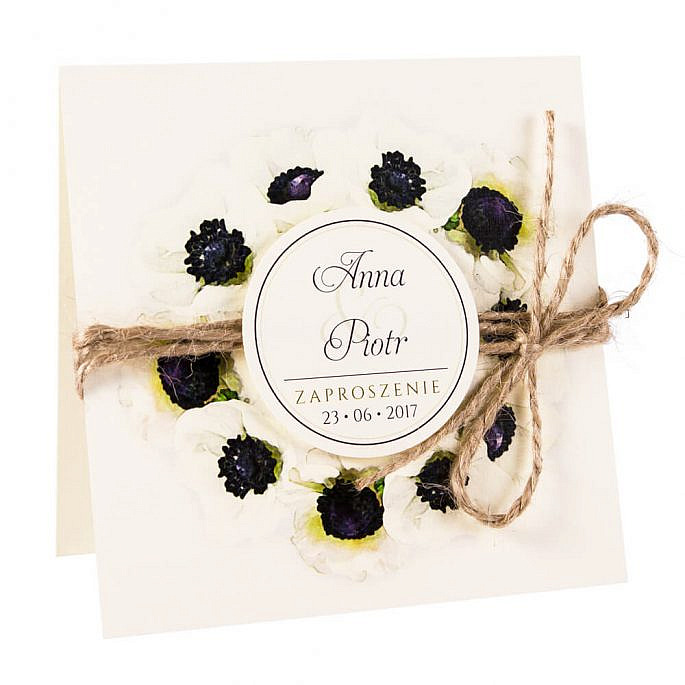 Modne kolorowe kwiatowe zaproszenie ślubne anemony sznurek eko