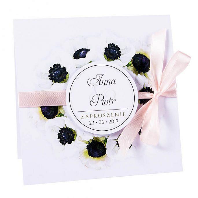 Modne kolorowe kwiatowe zaproszenie ślubne anemony