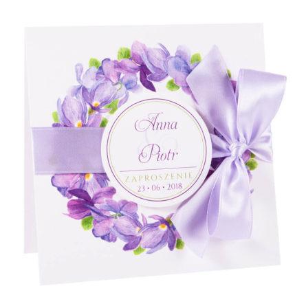 Modne kolorowe kwiatowe zaproszenie ślubne fioletowe fołki kokardka