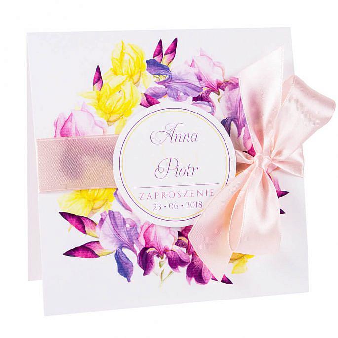 Modne kolorowe kwiatowe zaproszenie ślubne fioletowe irysy