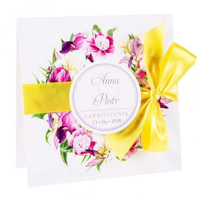 Eleganckie modne kwiatowe zaproszenia ślubne irysy piwonie