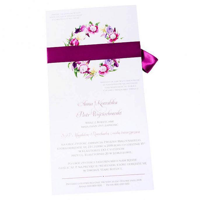 Eleganckie modne kwiatowe zaproszenia ślubne irysy