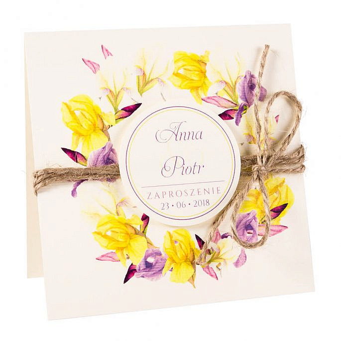 Modne kolorowe kwiatowe zaproszenie ślubne żółte irysy