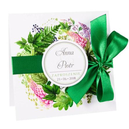 Modne kolorowe kwiatowe zaproszenie ślubne łubin i paproć