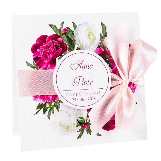 Eleganckie modne kwiatowe zaproszenia ślubne piwonie