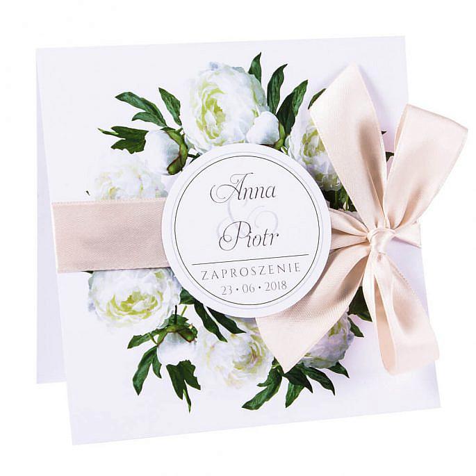 Eleganckie modne kwiatowe zaproszenia ślubne białe piwonie