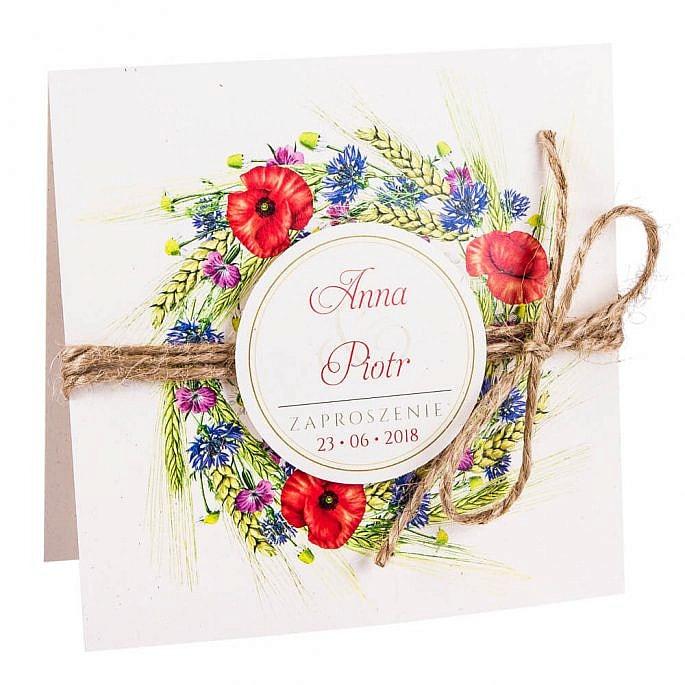 Eleganckie modne kwiatowe zaproszenia ślubne kwiaty polne