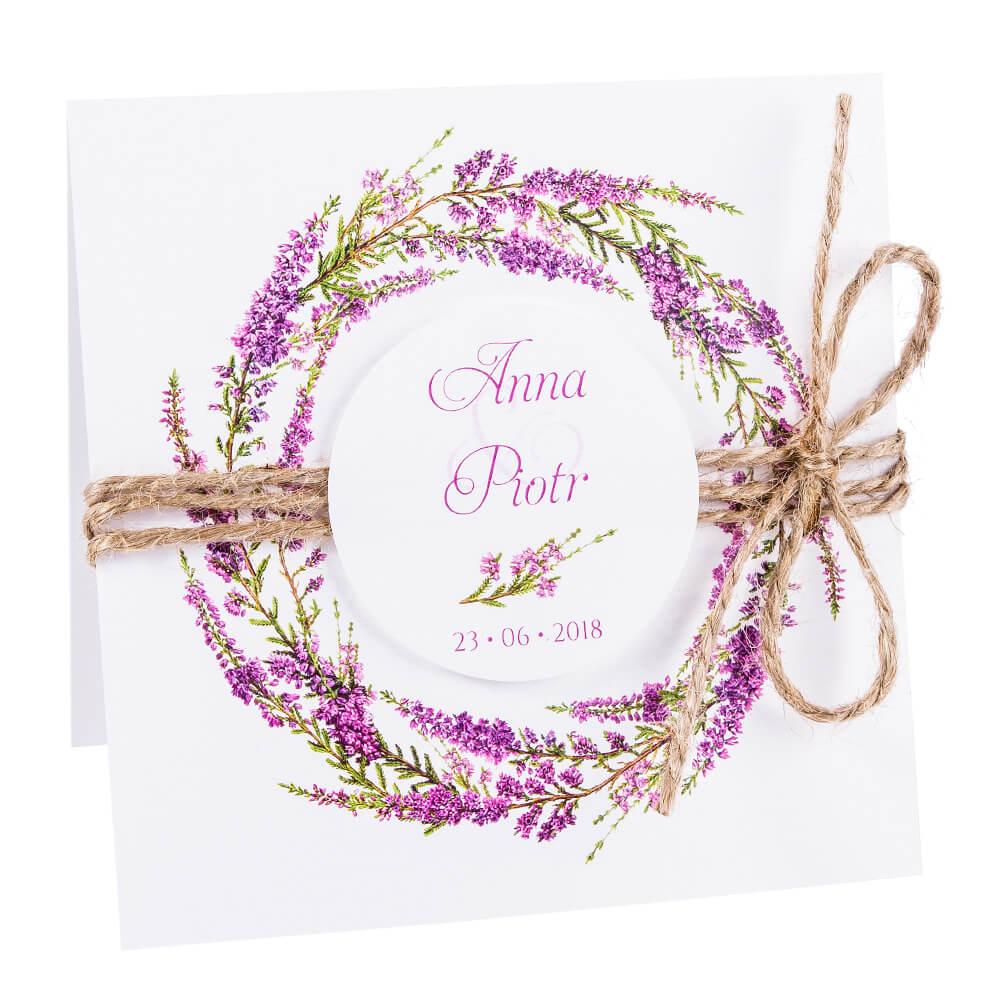 Eleganckie modne kwiatowe zaproszenia ślubne wrzos