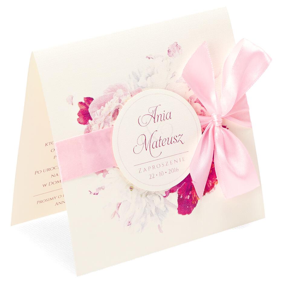 Eleganckie modne kwiatowe zaproszenia ślubne Piwonia