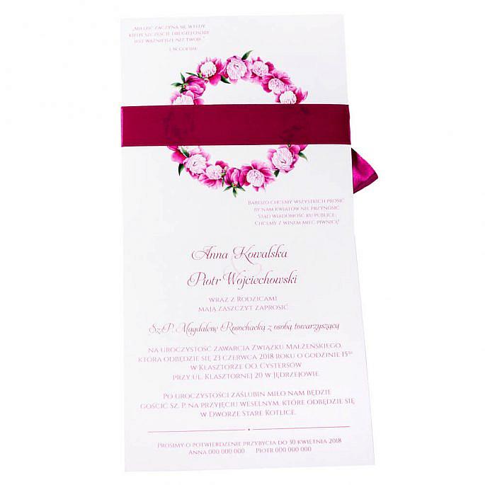 Eleganckie modne kwiatowe zaproszenia ślubne piwonie różowe