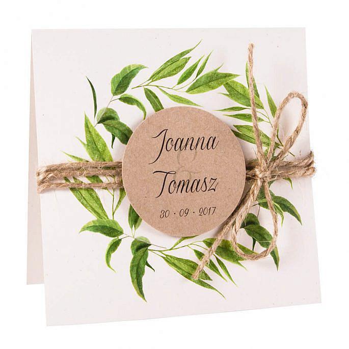 Eleganckie modne kwiatowe zaproszenia ślubne liście eukaliptusa