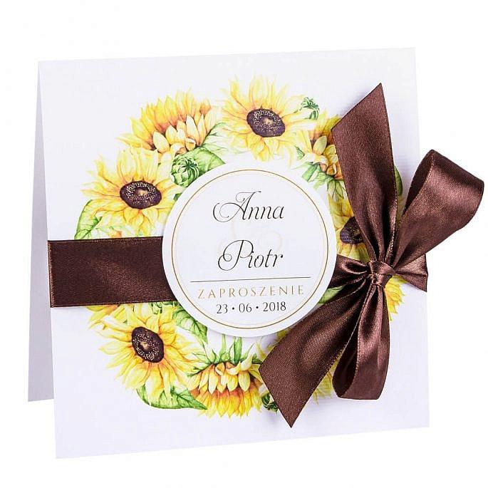 Eleganckie modne kwiatowe zaproszenia ślubne słoneczniki