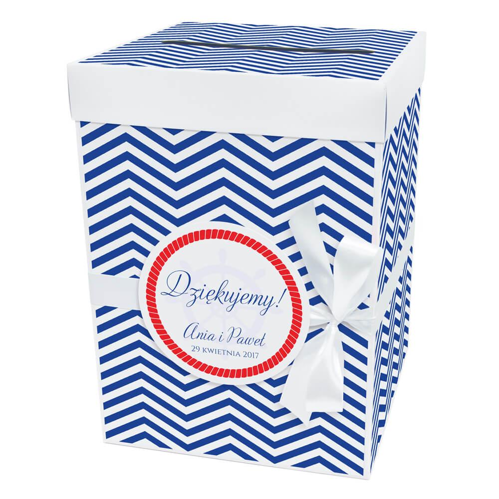 Pudełko na koperty prezenty ślubne motyw marynarski