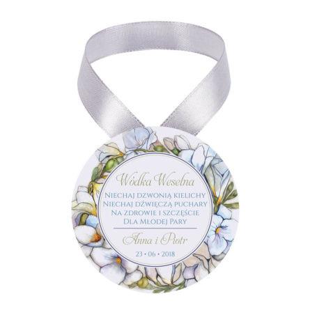 Zawieszka ozdoba na alkohol weselny na stół kwiaty