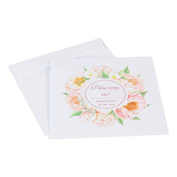 Koperta ozdoba na zaproszenie ślubne kolorowe kwiaty
