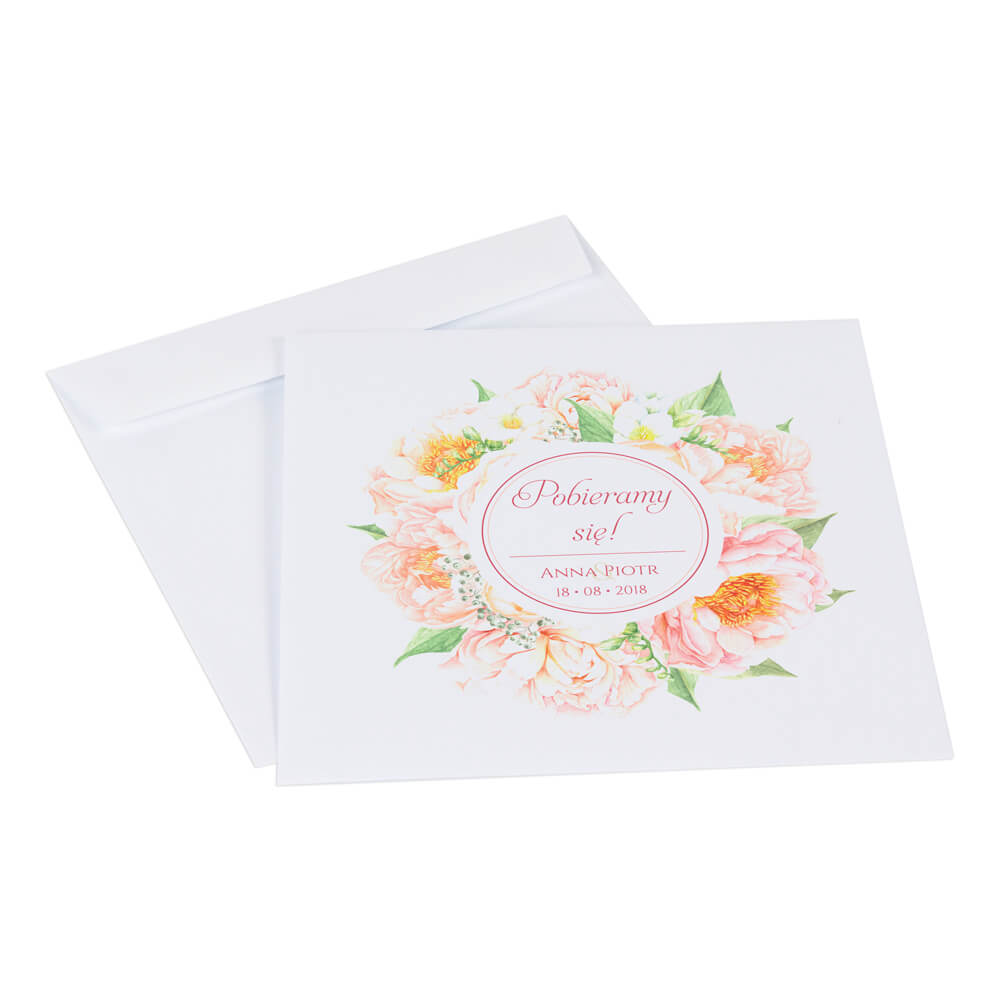 Zaproszenia ślubne Z Kwiatami Frezji I Piwonii