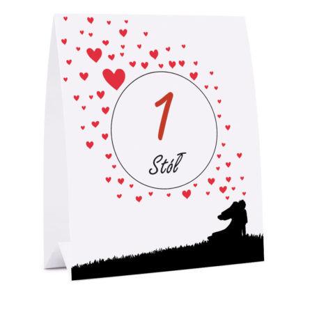 Numer na stół weselny oznaczenie informacja dla gości love