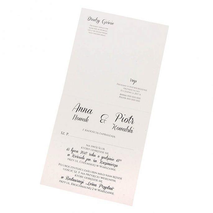 Eleganckie rustykalne zaproszenie na ślub dla gości