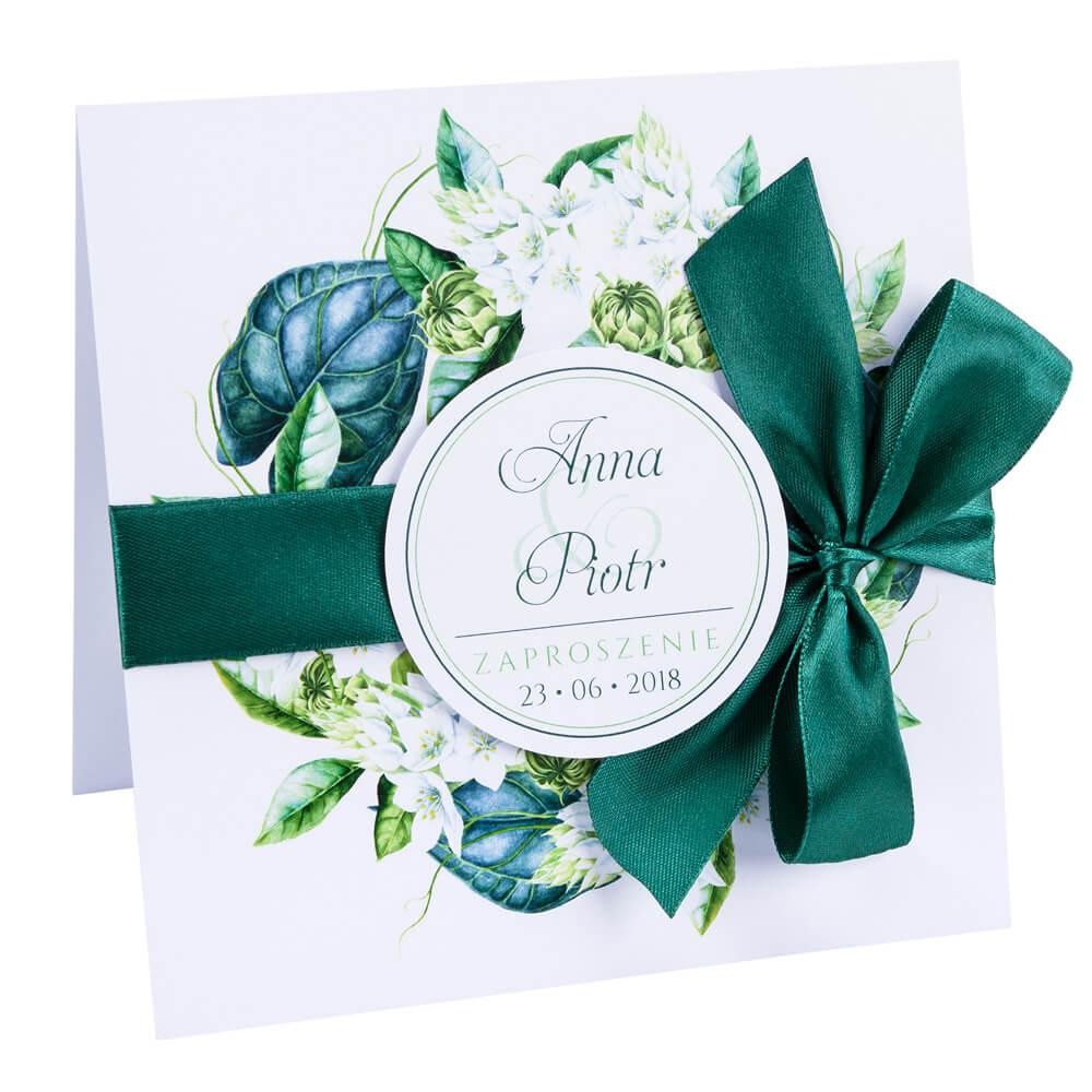 kwiatowe modne zaproszenie na ślub i wesele dla gości zielone kwiaty