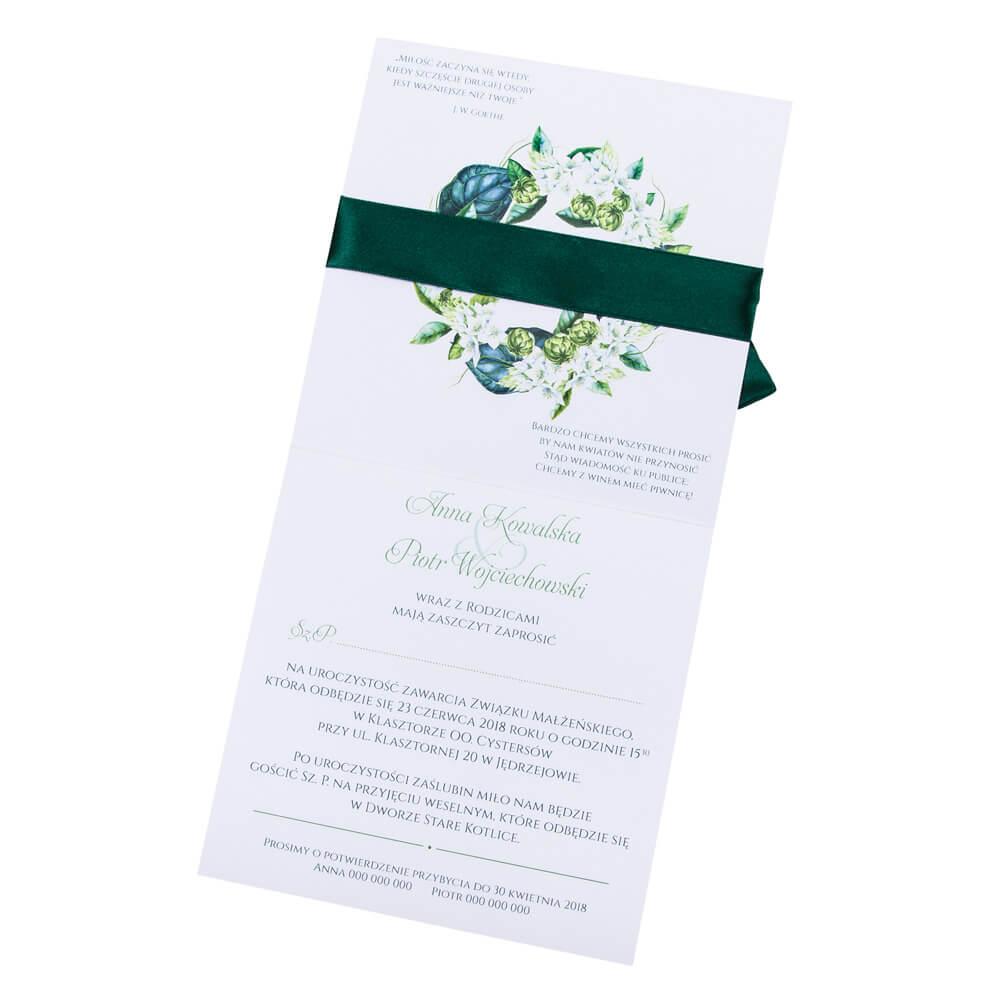 kwiatowe modne zaproszenie na ślub i wesele dla gości