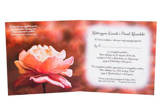 Ręcznie malowane zaproszenie na ślub dla gości wyjątkowe