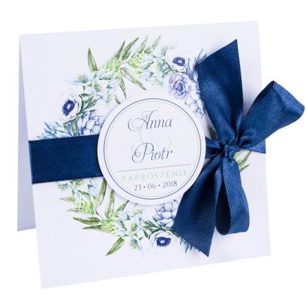 kwiatowe modne zaproszenie na ślub i wesele dla gości anemony sukulenty