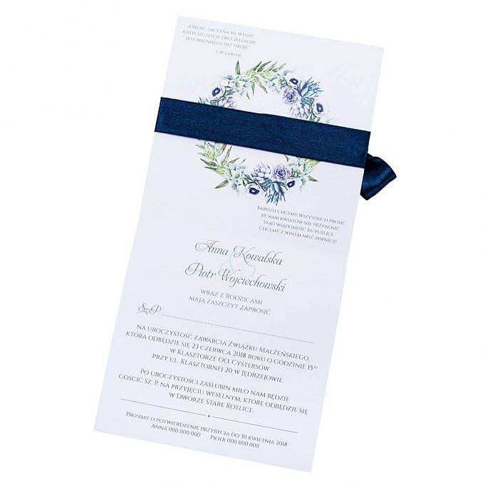 kwiatowe modne zaproszenie na ślub i wesele dla gości anemony