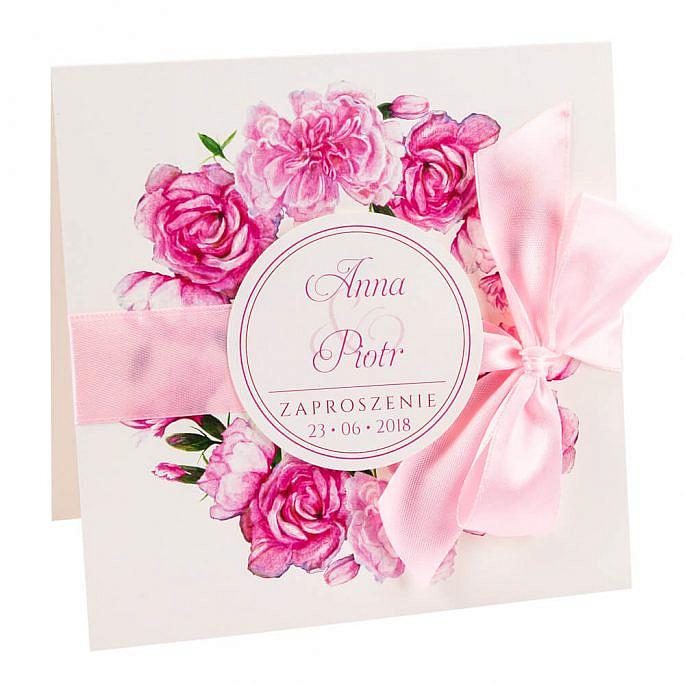 kwiatowe modne zaproszenie na ślub i wesele dla gości goździki