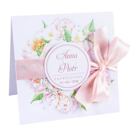 kwiatowe modne zaproszenie na ślub i wesele dla gości frezje i piwonie