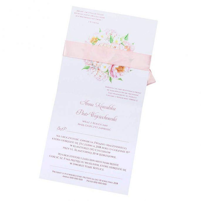 kwiatowe modne zaproszenie na ślub i wesele dla gości frezje