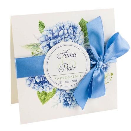 kwiatowe modne zaproszenie na ślub i wesele dla gości hortensje