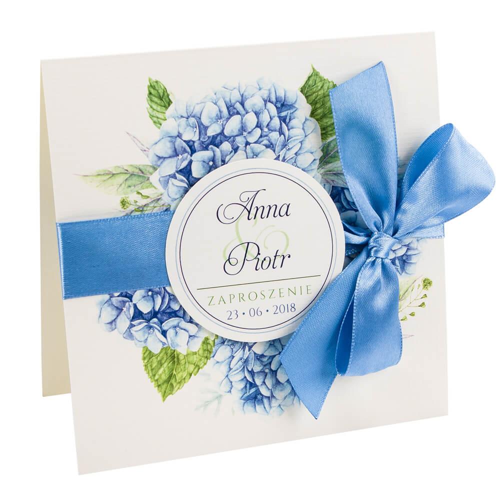 Zaproszenia ślubne Z Kwiatami Hortensji Wzór 3