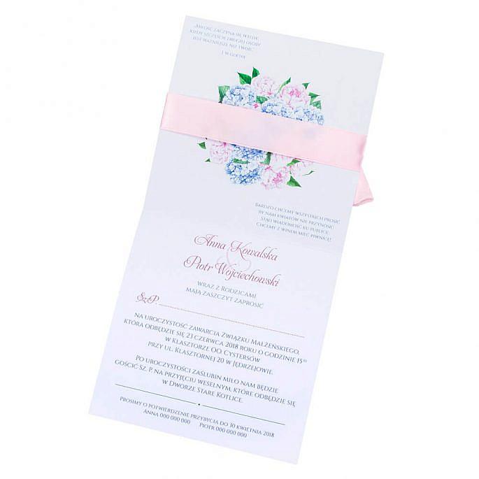 kwiatowe modne zaproszenie na ślub i wesele dla gości piwonie hortensje