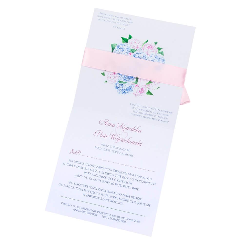 Zaproszenia ślubne Z Grafiką Hortensji I Piwonii
