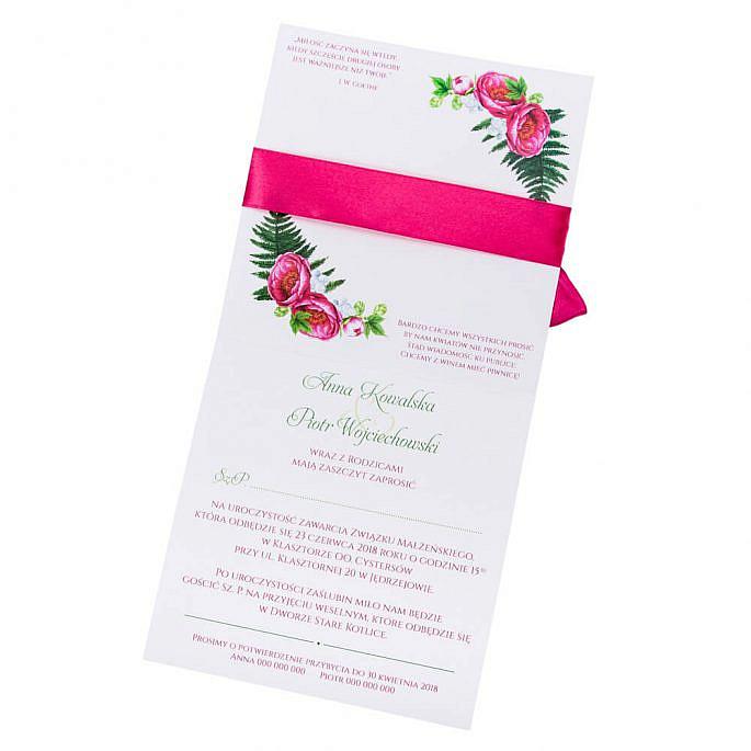 kwiatowe modne zaproszenie na ślub i wesele dla gości piwonie