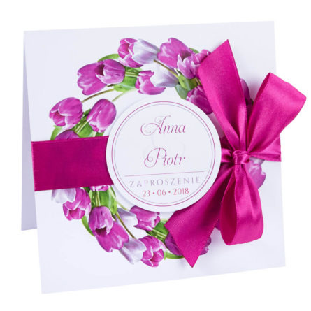 kwiatowe modne zaproszenie naślub iwesele dla gości tulipany