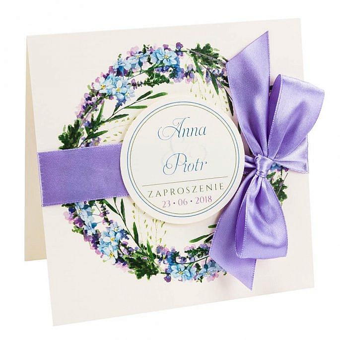 kwiatowe modne zaproszenie na ślub i wesele dla gości niezapominajki
