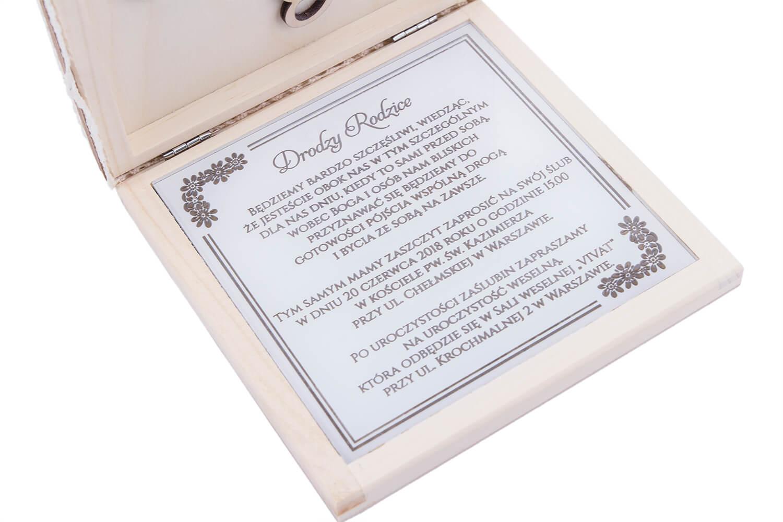 Zaproszenie Dla Rodziców Drewniane Pudełko Z Grawerunkiem