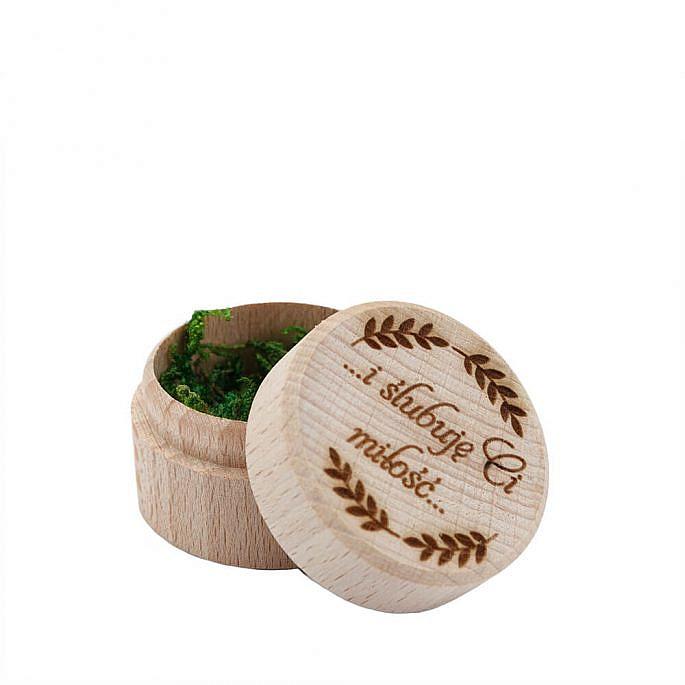 Pudełko na obrączki drewniane okrągłe