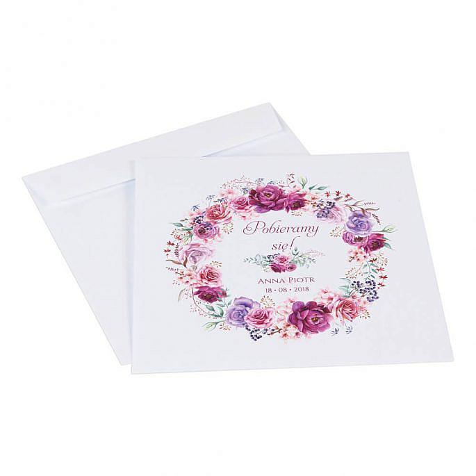Koperta ozdobna na zaproszenie kwiaty