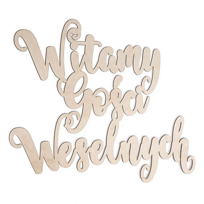 Napis witamy gości weselnych drewniany powitanie sala weselna