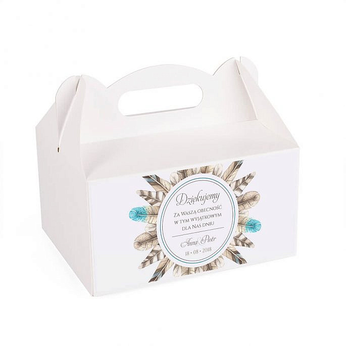 Pudełko na ciasto tort weselny podziękowanie pióra