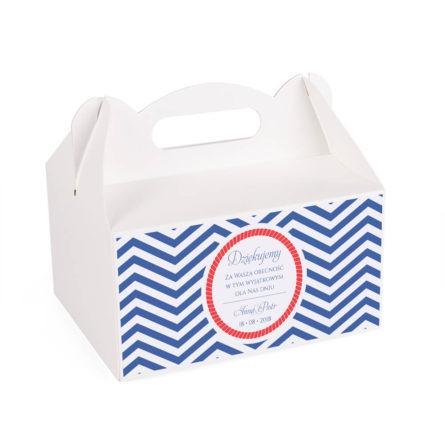 Pudełko na ciasto tort weselny podziękowanie motyw marynarski